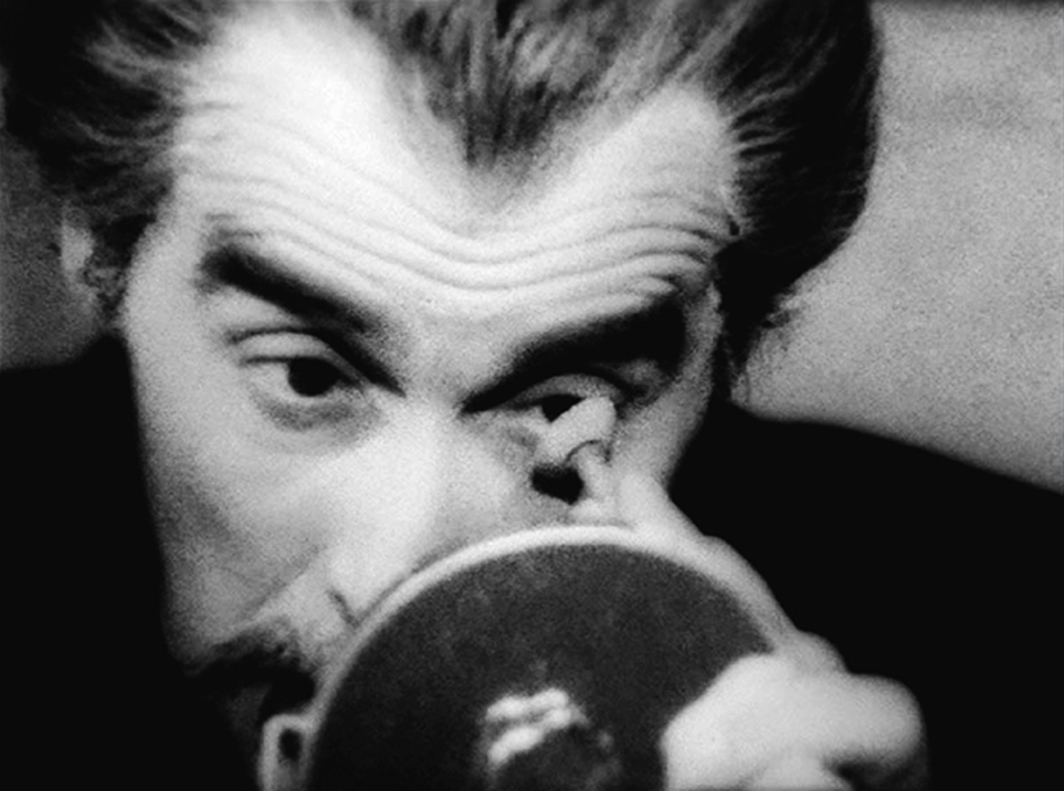 Still from Pere Portabella's Vampir-Cuadecuc, 1970, 16 mm, black-and-white, sound, 75 minutes. Christopher Lee. Maria Rohm. Christopher Lee.