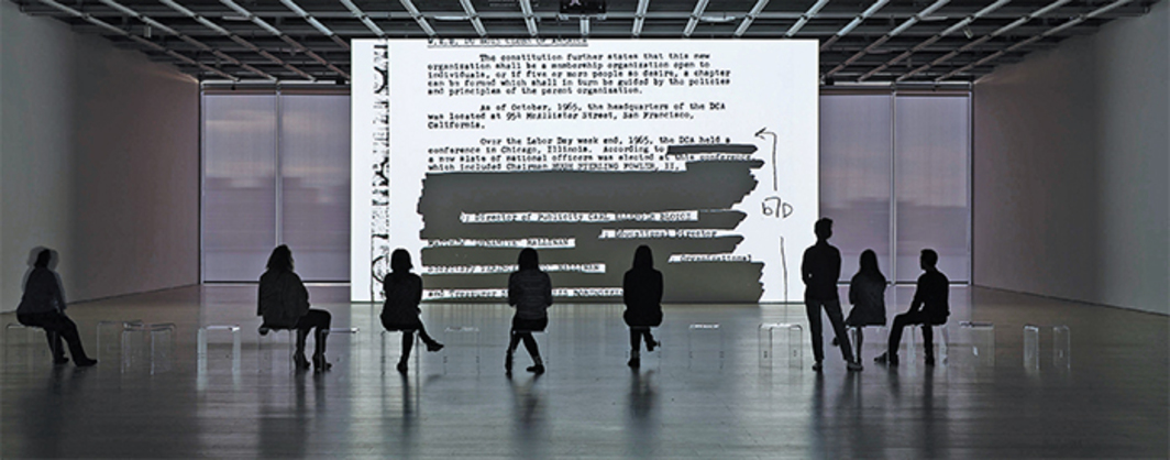 Steve McQueen, End Credits, 2012/2016, sequence of digital scans, black-and-white, sound, 12 hours 54 minutes; sound element: 19 hours 23 minutes. Installation view. Photo: Ron Amstutz.