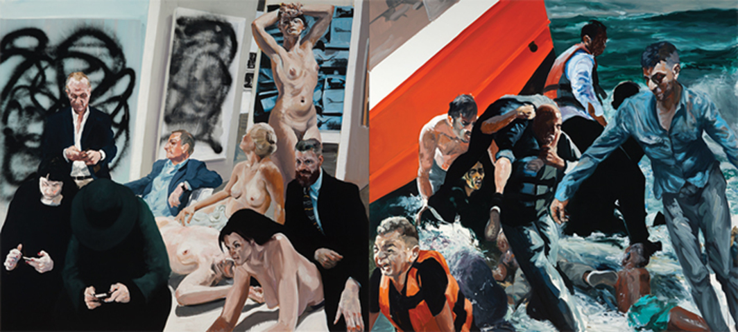 "Eric Fischl, Rift/Raft, 2016, oil on linen, 8' 2"" × 18' 4""."