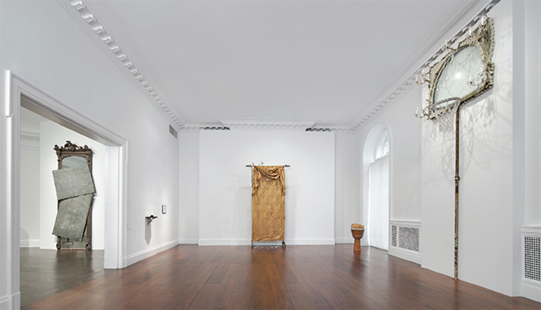 "View of ""David Hammons,"" 2016. From left: Untitled, 2014; Untitled, 2003; Smoke Screen, 1990–95; Standing Room Only, 1996; Basketball Chandelier, 1997. Photo: Tom Powel Imaging."