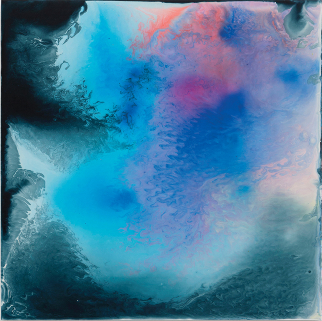 "Bernard Frize, Euros, 2015, acrylic and resin on canvas, 31 1/2 × 31 1/2"". © Bernard Frize/ADGAP, Paris & ARS, New York."
