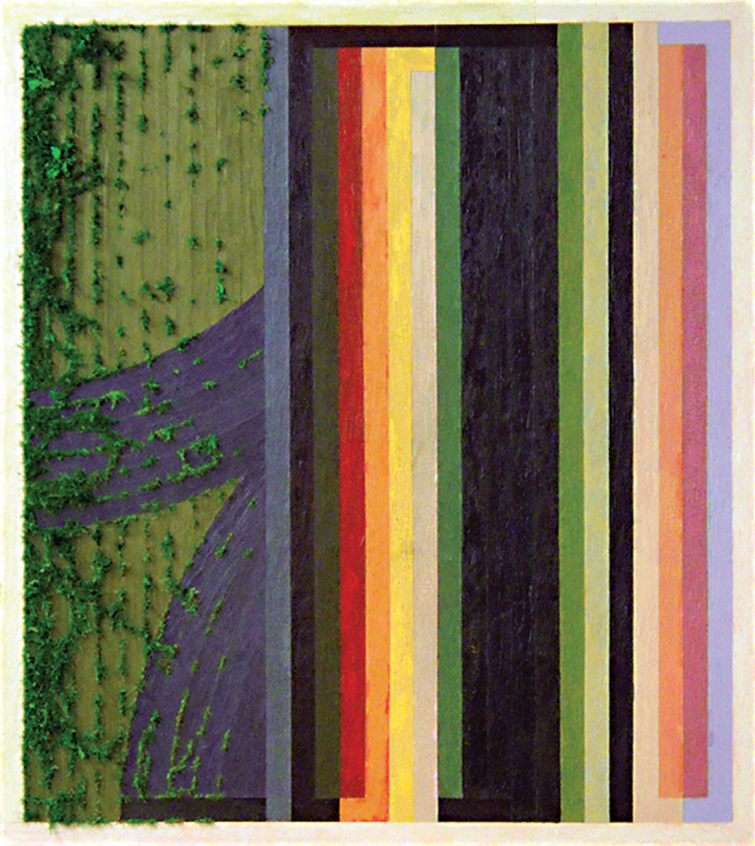 "Charles Koegel, Who Knows, 2010, acrylic, oil, and spray-painted grass on canvas, 70 × 62""."