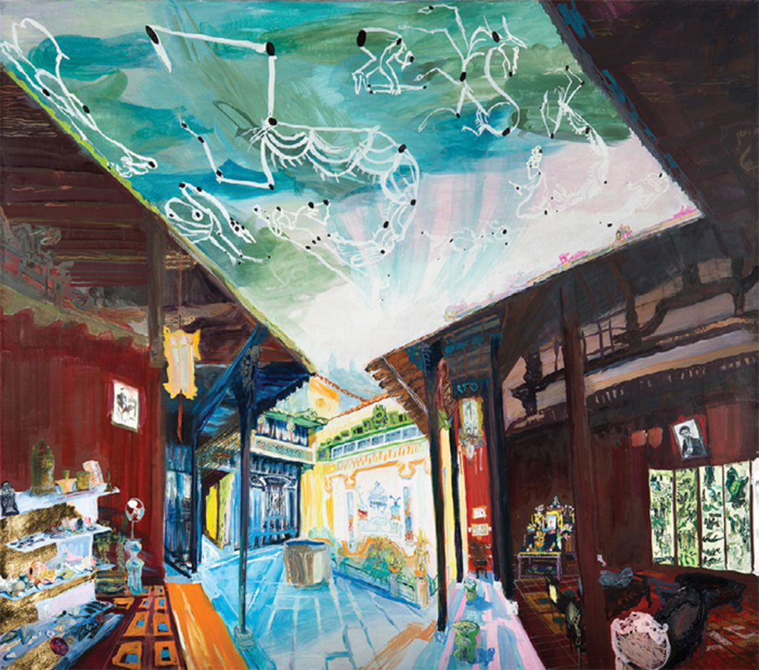 "Jane Irish, House of Tan Ky, 2015, egg tempera on linen, 50 1/2 × 55""."