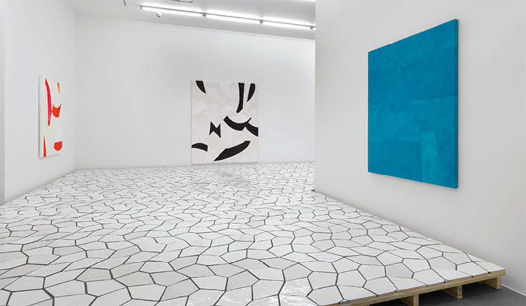 "View of ""Sarah Crowner,"" 2016. On floor: Platform (Terracotta Pentagon Leaves), 2016. On wall, from left: Sliced Red, 2016; Sliced Black Tree, 2016; Untitled, 2016. Photo: Todd-White Art Photography."