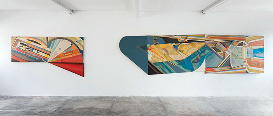 "View of ""Paolo Gioli,"" 2016. From left: Grande sviluppo rosso (Big Red Progression), 1966; Grande proiezione orizzontale (Big Horizontal Projection), 1969. Photo: Andrea Rossetti."