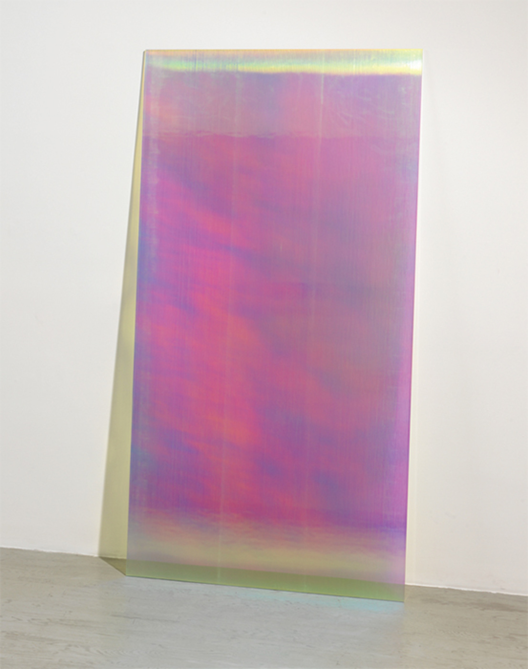 "Ann Veronica Janssens, CL9 Pink Shadow, 2015–16, annealed glass, PVC filter CL9, 82 5/8 × 41 3/8 × 6""."