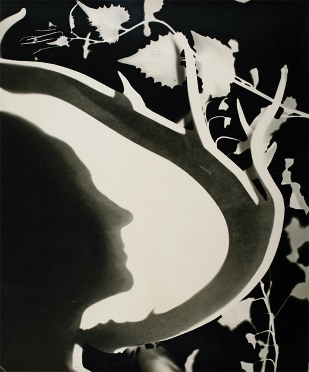 "Len Lye, Georgia O'Keeffe, 1947, gelatin silver print, 16 7/8 × 14 1/8"". From ""Emanations: The Art of the Cameraless Photograph."""