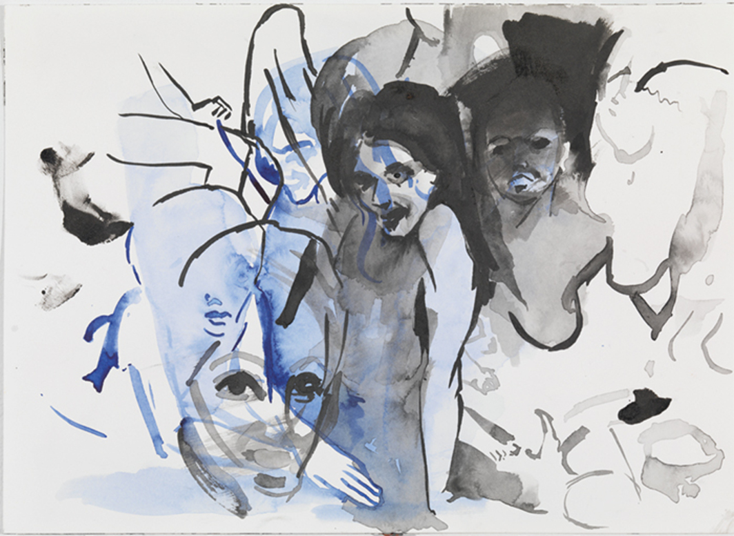 "Cecily Brown, Untitled (Ladyland), 2011, watercolor, 10 1/2 × 14 1/8""."