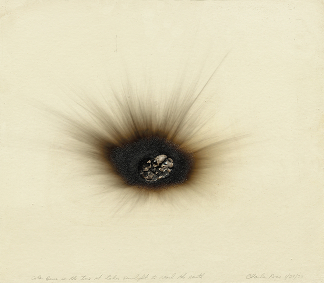 "Charles Ross, Solar Burn 1/29/77, 1977, paint on burned wood, 14 1/4 × 16 1/4"". From ""Los Angeles to New York: Dwan Gallery, 1959–1971."""
