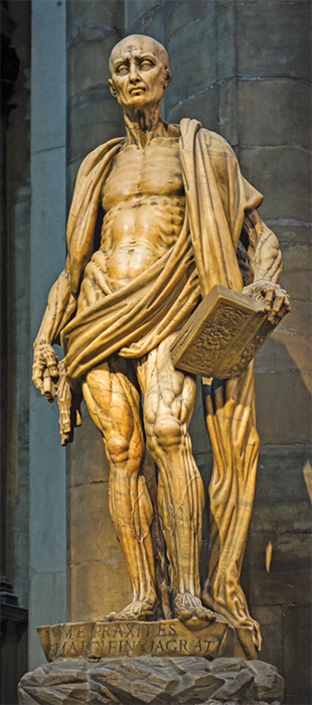 *Marco d'Agrate, _Saint Bartholomew Flayed_, 1562*, marble. Installation view, Duomo, Milan. Photo: Frank Schulenburg/Wikicommons.