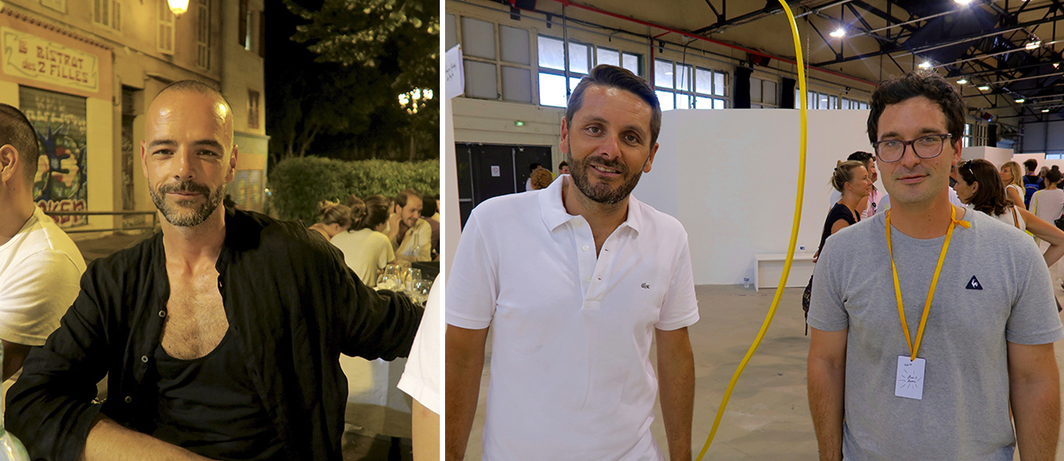 Left: Material Art Fair director of exhibitor relations Rodrigo Feliz. Right: Collector Sébastien Peyret and dealer François Ghebaly.