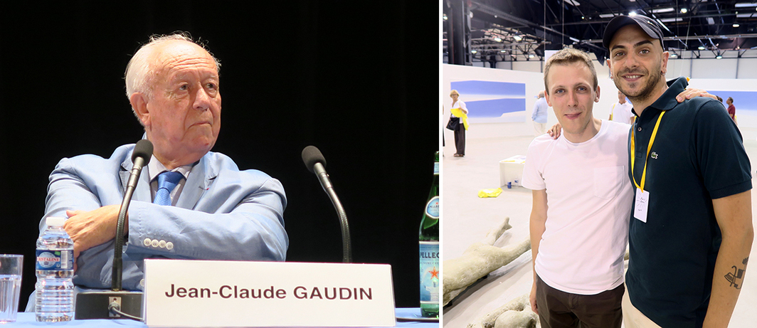 Left: Jean-Claude Gaudin, mayor of Marseille. Right: Artist Davide Stucchi and curator Mattia Ruffolo.
