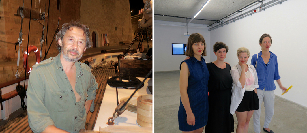 Left: Chef Christian Qui (aka Sushi Qui). Right: Artists Anja Maria Dietmann, Helena Wittman and Marlene Denningmann, with Goethe-Institut curator Franziska Glozer.
