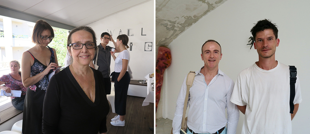 Left: Collector Josée Gensollen. Right: Collector Alejandro Martin and artist Berto Martinez Tello.