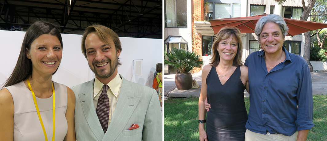 Left: Dealers Sarah de Chiara and Matteo Consonni. Right: Foundation M-Arco, The Box founders Marie-Hélène and Marc Féraud.