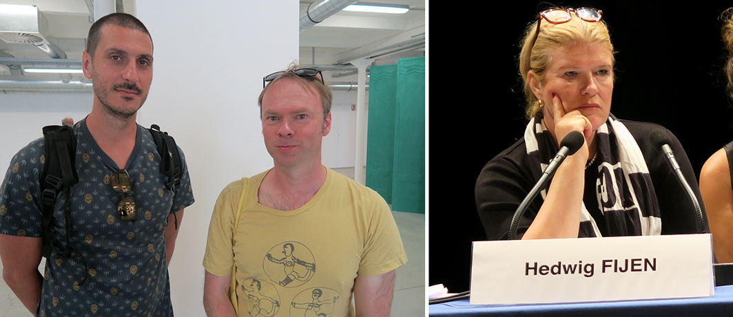 Left: Poet Guillaume Condello and artist Douglas Morland. Right: Manifesta Foundation president Hedwig Fijen.
