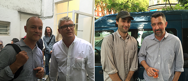 Left: Composer Marin Scmikler and dealer Daniel Buchholz. Right: Artist George Rippon with dealer Markus Lüttgen. (All photos: Julian Elias Bronner)