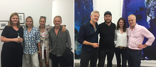 Left: Dealers Susanne Zander and Nicole Delmes of Delmes & Zander with collectors and Salon Schmidt proprietors Trixi and Dirk Mecky. Right: Dealer Berthold Pott, artist Max Frintrop, Conny Zinkin of Cologne Fine Art, and Art Cologne director Daniel Hug.