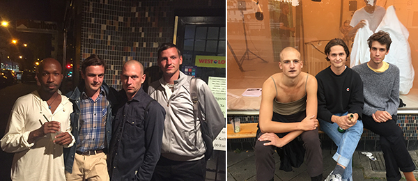 Left: Artists Christoph Westermeier, Martin Pfeifle, and Lukas Müller. Right: Artists Louis Backhouse, Andrew Christopher Green, and Jorge Loureiro.