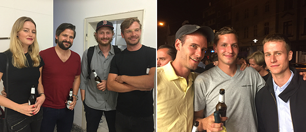 Left: Advisors Anna Hagemeier and David Achenbach with artists Andres Breuing and Henning Strassburger. Right: Artists Friedemann Heckel, Lukas Müller, and Alexander Bornschein.