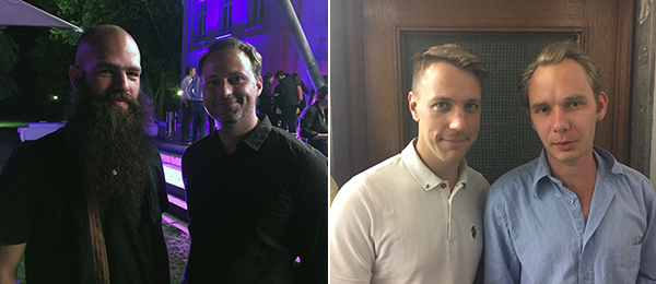 Left: Artist Julian von Bismarck and Nord-Rhein-Westphalen-Forum's Alain Bieber. Right: Artists Jan Ole Schiemann and Moritz Fiedler.