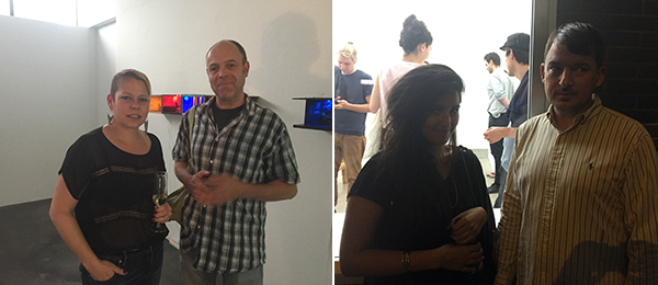 Left: Artist Tracey Snelling (left). Right: Artists Melika Kara and Daniel Dewar.