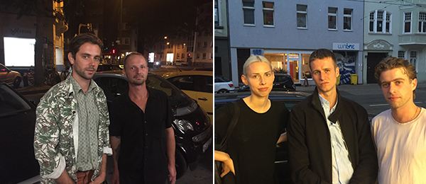 Left: Artists Jean-Marie Appriou and Grégory Gicquel. Right: Art historian Inge Charlotte Thiel with artists Alexander Bornschein and Camilo Grewe.