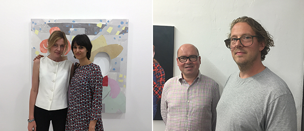 Left: Dealer Bernd Hammelehle of Galerie Gammelehe und Ahren with artist Ulrich Lamsfuß. Right: Dealer Natalia Hug with artist Carolin Eidner.