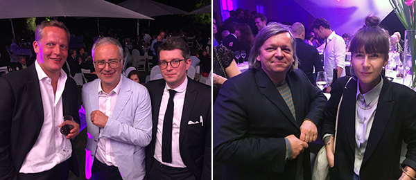Left: Dealer Daniel Marzona, head of the board of the Kunsteverein Tomas Waldschmidt, and collector Alex Hartan. Right: Artists Claus Föttinger and Yeşim Akdeniz.