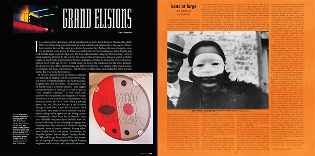 "Page from Artforum, April 1992. Lisa Liebmann, ""Grand Elisions."" Page from Artforum, October 1987. Lisa Liebmann, ""Icons at Large: X Marks the Spot."""