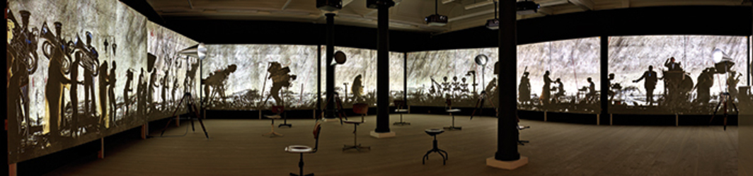 William Kentridge, More Sweetly Play the Dance, 2015, eight-channel HD video (color, sound, 15 minutes), megaphones. Installation view, Marian Goodman Gallery, New York, 2016. Photo: Stephen White.