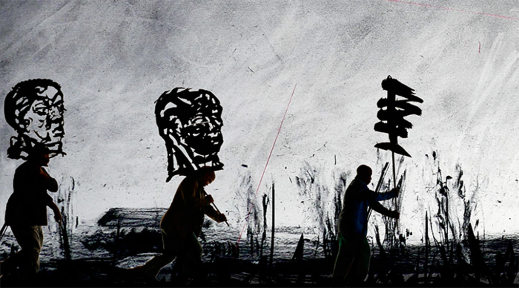 Still from William Kentridge's More Sweetly Play the Dance, 2015, eight-channel HD video (color, sound, 15 minutes), megaphones.