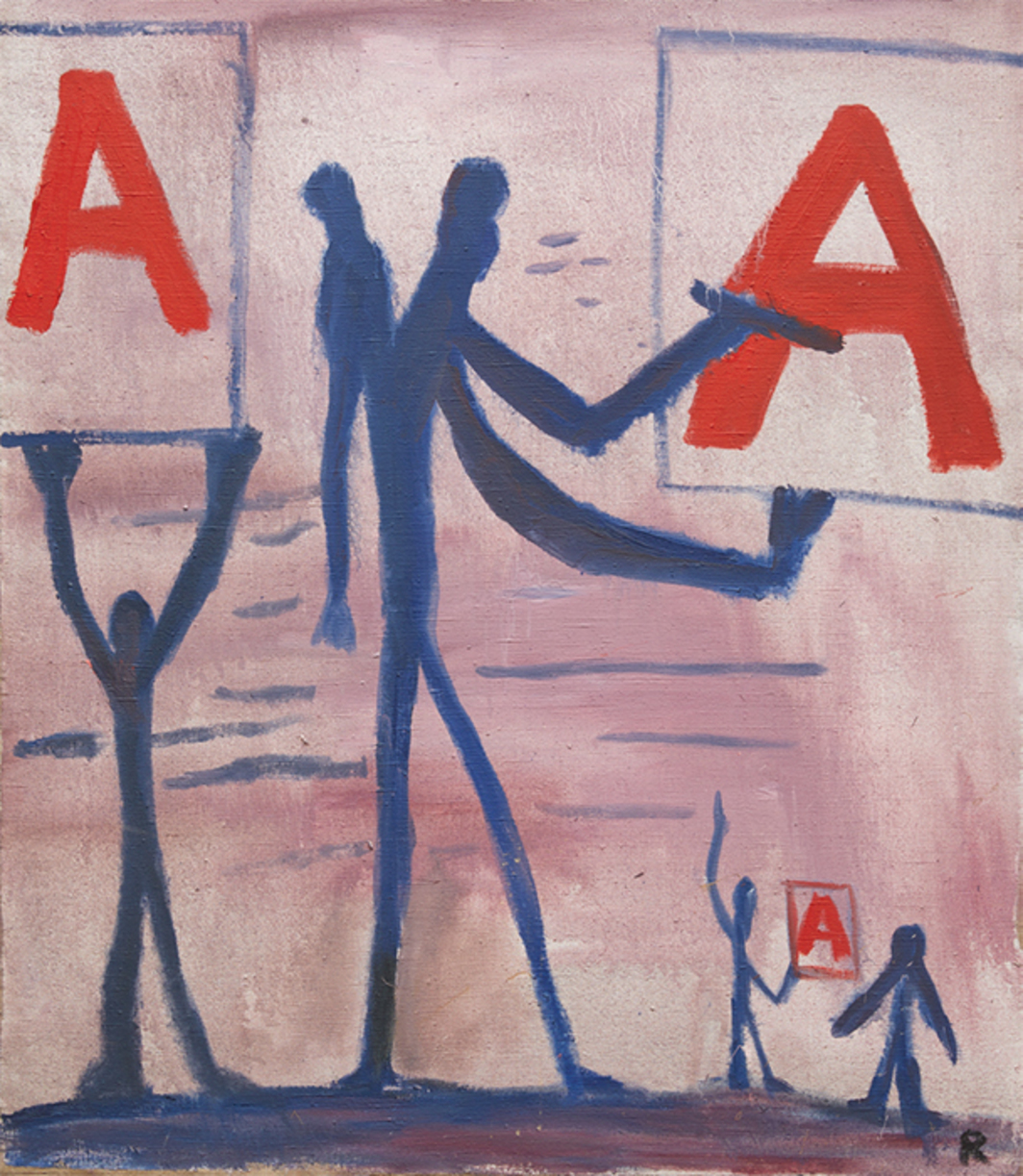 "A. R. Penck, Untitled (System Painting), 1966, oil on canvas, 42 3/4 × 37 1/2"". © Artists Rights Society (ARS), New York / VG Bild-Kunst, Bonn."