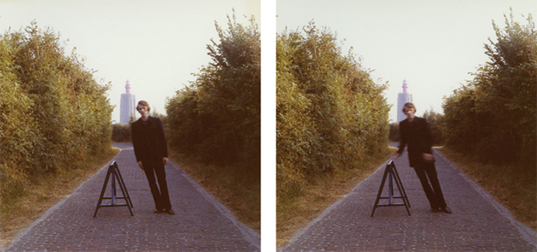 "Bas Jan Ader, Studies for Broken fall (geometric), 1971, two C-prints, each 3 1/2 × 3 1/2"". © Estate of Bas Jan Ader/Artists Rights Society (ARS), New York."