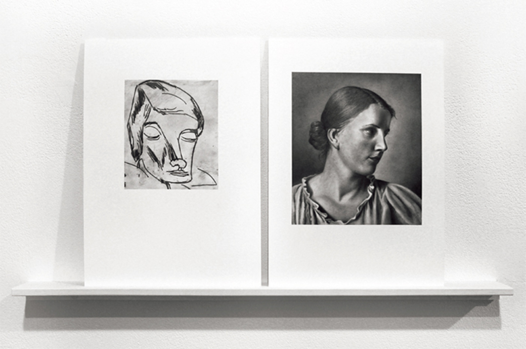"Martí Cormand, Karl Schmidt-Rottluff, picture of a woman/Adolf Ziegler, study of Hertha, 2016, diptych, graphite on paper, each 12 × 8 1/2""."
