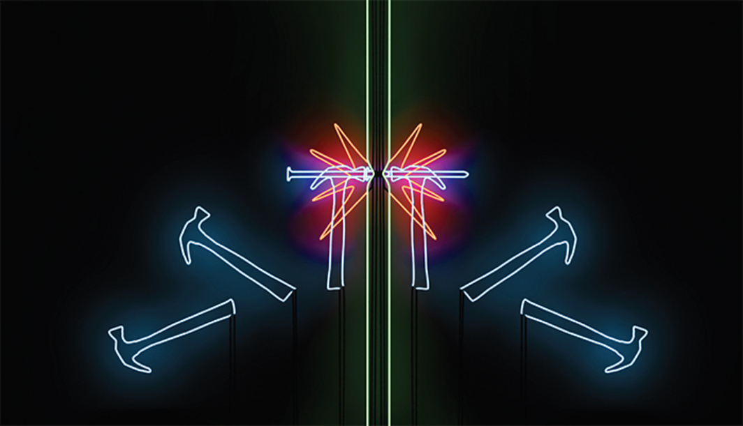 "Esther Shalev-Gerz, Potential Trust, 2012–14, neon on wood panel, 37 1/2 × 60""."