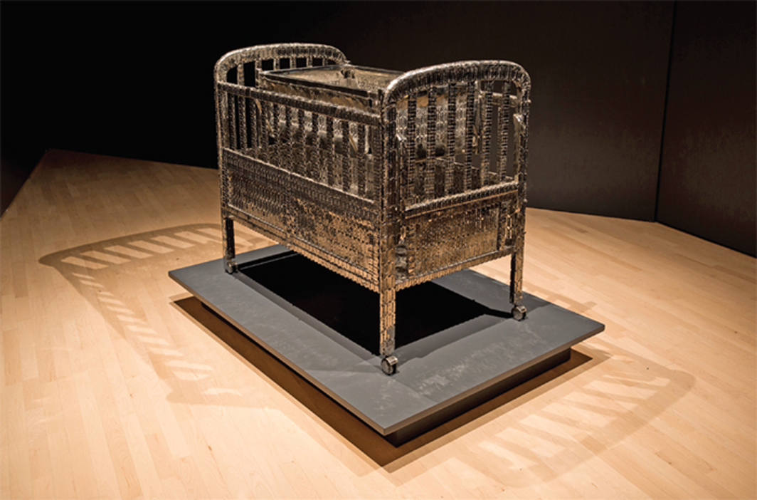 "Tayeba Begum Lipi, My Daughter's Cot, 2012, stainless steel razor blades, stainless steel, 40 × 48 × 30"". From ""The Artist as Activist: Tayeba Begum Lipi and Mahbubur Rahman."""
