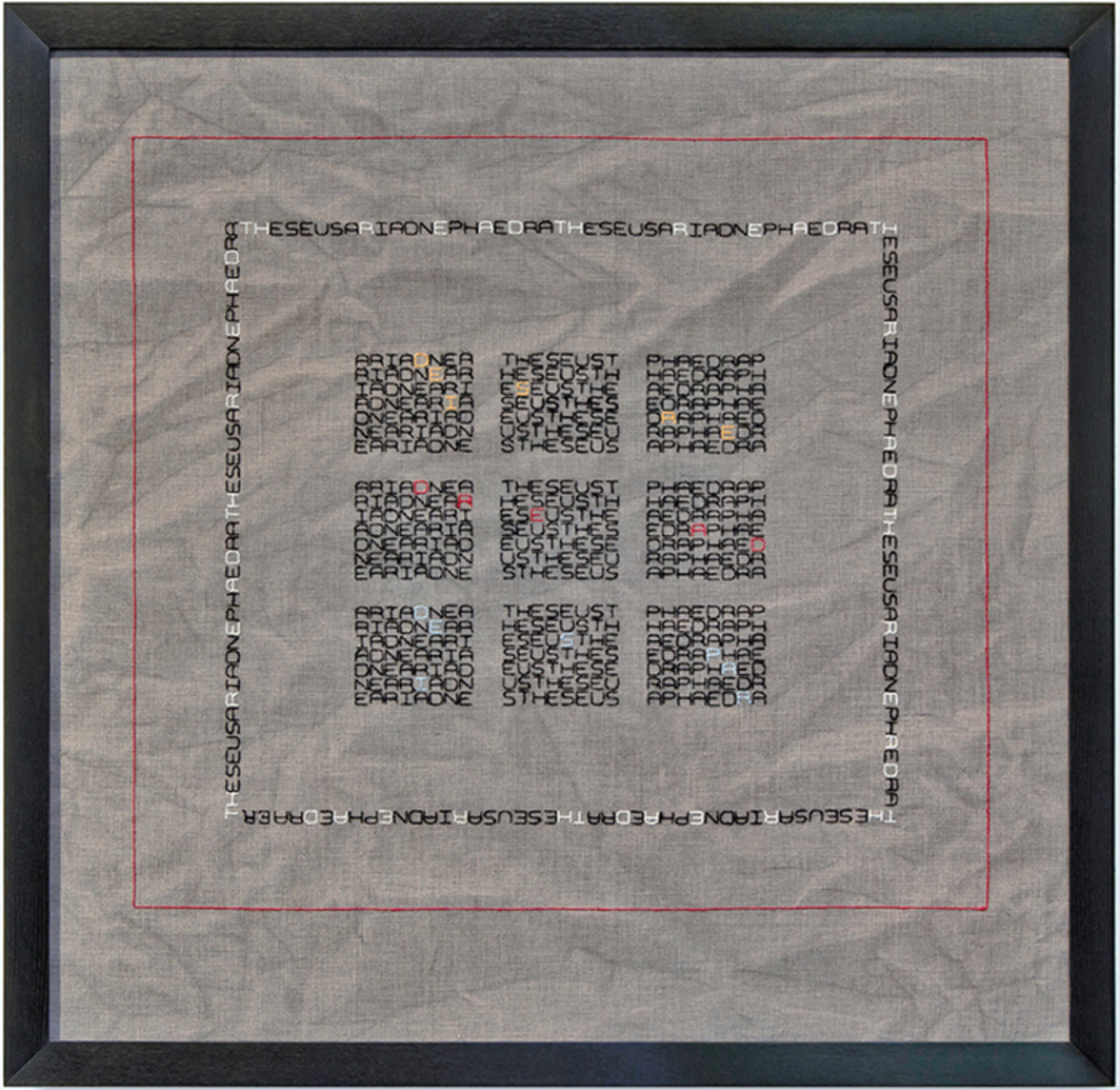 "Elaine Reichek, Desire/Dread/Despair, 2012, embroidery on linen, 26 1/4 × 26 3/4 × 1 1/4""."