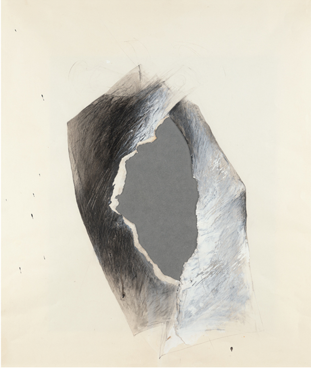 "Jay DeFeo, Untitled (Tripod series), 1975, acrylic, graphite, grease pencil, collaged paper on vellum and paper, 23 1/4 × 19 5/8""."