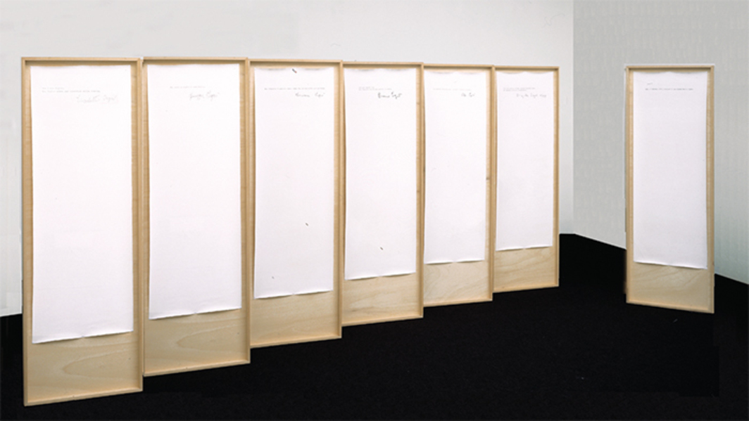 "Emilio Isgrò, Dichiaro di non essere Emilio Isgrò (I Declare I Am Not Emilio Isgrò), 1971, seven mixed-media panels, each 66 × 23 3/4""."