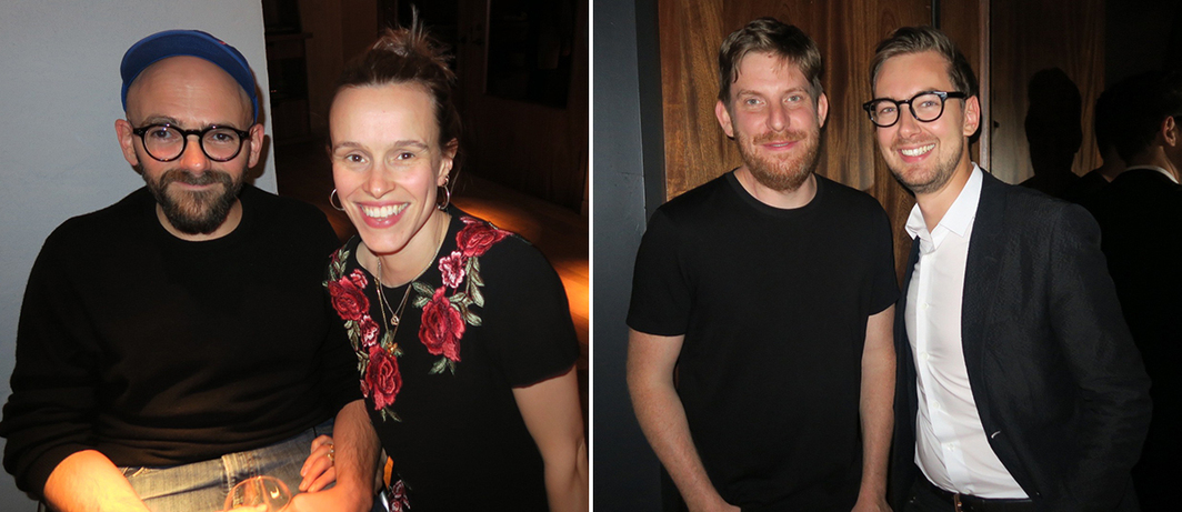 Left: Artist Ryan Gander with dealer Rebecca May Marston. Right: Artist Cory Arcangel and dealer Alex Logsdail.