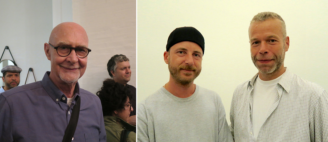 Left: Art historian Douglas Crimp. Right: Artists Anders Clausen and Wolfgang Tillmans.