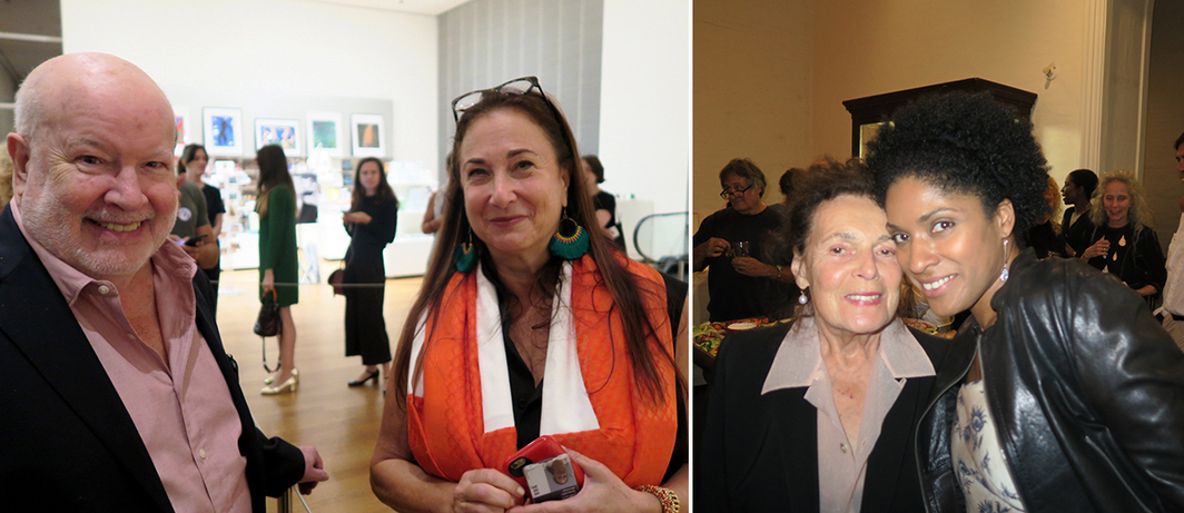 Left: New Museum curator-at-large Richard Flood and MoMA associate director Kathy Halbreich. Right: Artist Pat Steir and singer Alicia Hall Moran.