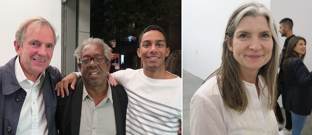 Left: Photographer and collector Hugo Rittson-Thomas with artist Stanley Whitney and his son, Will Whitney. Right: SculptureCenter director Mary Ceruti.