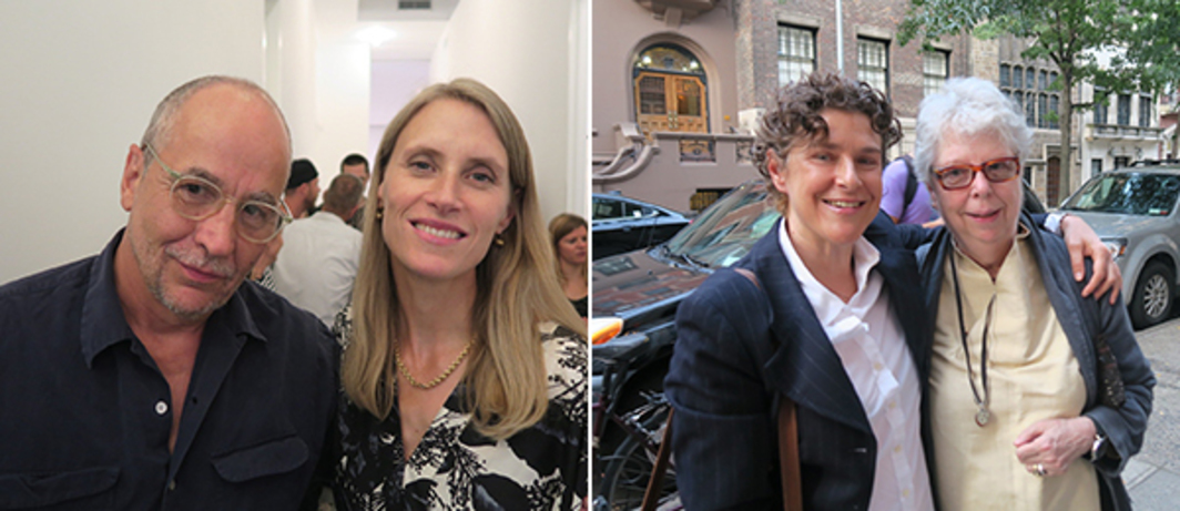 Left: Artist Philip-Lorca DiCorcia and dealer Hanna Schouwink. Right: Artists Zoe Leonard and Nancy Shaver.