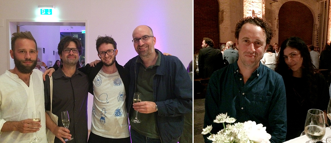 Left: Import Projects director Nadim Samman, composer Tyler Friedman, artist Andreas Greiner, and dealer Jan-Philipp Sexauer. Right: KW director Krist Gruijthuijsen with e-flux cofounder Julieta Aranda.