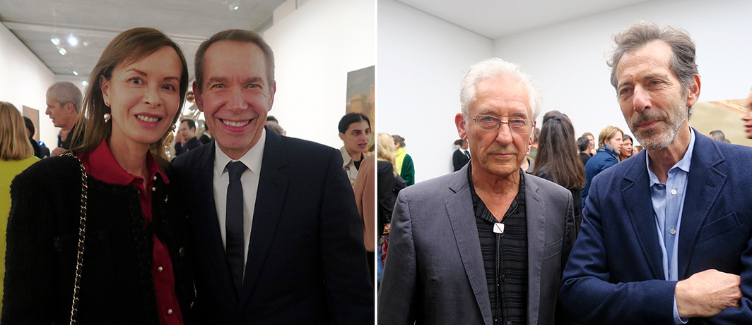 Left: Dealer Almine Rech and artist Jeff Koons. Right: Artist Ed Ruscha and Hayward Gallery director Ralph Rugoff.