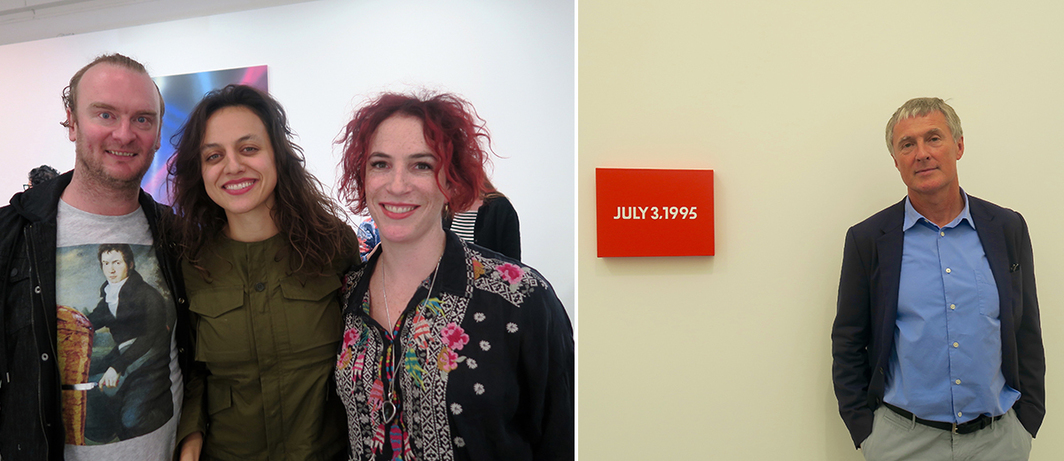 Left: Artists Nathaniel Mellors and Tala Madani with dealer Mara McCarthy. Right: Dealer David Zwirner.