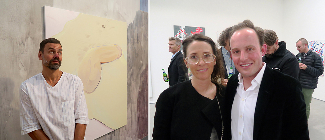 Left: Artist Ingar Dragset. Right: Artist Laura Owens and Whitney Museum chief curator Scott Rothkopf.