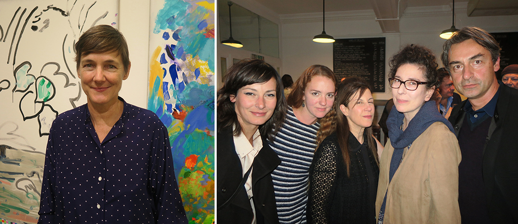 Left: Dealer Sadie Coles. Right: Dealers Erika Weiss, Kathryn Erdman, and Maureen Paley with artist Maureen Gallace and dealer Cristian Alexa.